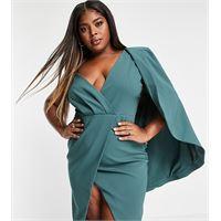 Lavish Alice Plus - vestito longuette midi salvia con monospalla a mantella e spacco-verde