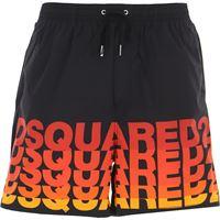 Dsquared swim shorts trunks for men in saldo, nero, polyamide, 2021, l m s xl