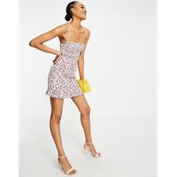 French Connection - ekeze - vestito corto in crêpe con spalline sottili a fiori multicolore-rosa