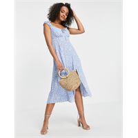 Forever New - vestito midi con scollo squadrato stile anni '90 blu a fiorellini