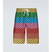 Gucci shorts in twill di seta gg multicolor