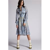 Dsquared2 donna vestito celeste taglia 36 87% viscosa 13% poliammide cotone elastan
