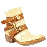A.S.98 stivaletti alla caviglia da donna fatti a mano in pelle di vitello avena con cerniera e tre cinturini in cuoio 925204 osso/natur/grano
