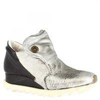 A.S.98 sneakers fashion slip-on con zeppa da donna fatte a mano in pelle di vitello nera e argento 511103 nero