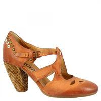 A.S.98 scarpe da ballo con tacco alto da donna fatte a mano in pelle di vitello castagna con fibbia e borchie 0102 via cerchi rino