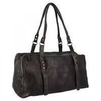 A.S.98 borsa baule fashion da donna fatta a mano in pelle di vitello nera chiusura con cerniera 06 nero