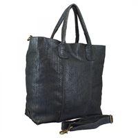 A.S.98 borsa shopping da donna fatta a mano in pelle blu notte stampa pitone effetto glitter con tracolla removibile 11 blu