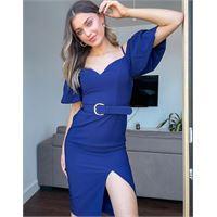 Little Mistress - vestito longuette blu navy con spalle scoperte, maniche a sbuffo e spacchi