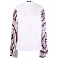 Raf Simons camicia con maniche a contrasto - bianco