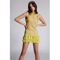 Dsquared2 donna vestito giallo taglia 36 61% viscosa 39% poliammide
