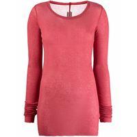 RICK OWENS t-shirt a maniche lunghe in maglia fine in rosso - donna