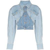 Mugler giacca denim crop - blu