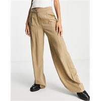Selected femme - pantaloni sartoriali a fondo ampio color cuoio-marrone