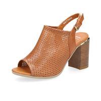 Bata sandalo fasciato in pelle traforata con tacco 8cm