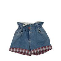 PHILOSOPHY DI LORENZO SERAFINI shorts in denim di cotone con dettagli tartan