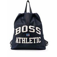 Boss Hugo Boss borsa a secchiello con ricamo - blu