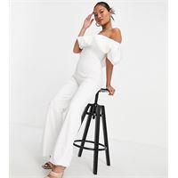 Club L London Petite - tuta jumpsuit bianca con volant-bianco