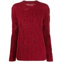 Uma Wang maglione con effetto vissuto - rosso