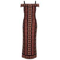 Alaïa abito in maglia jacquard con scollo bardot