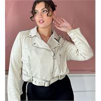 Simply Be - giacca in camoscio sintetico color tortora-marrone