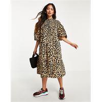 Selected femme - vestito midi arricciato con maniche voluminose e stampa leopardata-multicolore