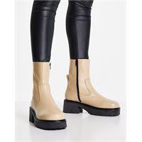 ASOS DESIGN - ascend - stivaletti a calza premium in pelle bianco sporco